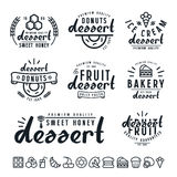 Set of dessert  labels, badges and icons Stock Image