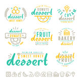 Set of dessert  labels, badges and icons Royalty Free Stock Image