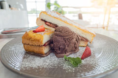 Set dessert in plate. bread , ice-cream  and Strawberry fruit.  Stock Photos