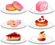 Set of dessert on plate. Illustration royalty free illustration
