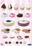 Set of desserts. Sweetnesses and baking stock illustration