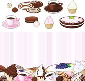 Set of desserts. Sweetnesses and baking royalty free illustration