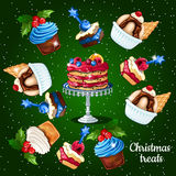 Set of desserts for the Christmas time, 10 icons Royalty Free Stock Photo
