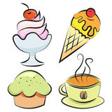 Set. Desserts and coffee. Vector illustration Royalty Free Stock Photo