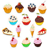Set of vector desserts Royalty Free Stock Photos