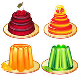 A set of desserts of jelly on plates Royalty Free Stock Image