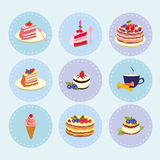 Set of desserts sweets, pastry, chocolate, cake, cupcake, ice cream, vector illustration Stock Photo