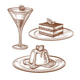 Set of desserts. On white background. Hand drawn vector illustration. Retro style Stock Photo
