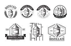 Set destylarni produkci ikony ilustracja wektor