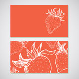 Set of 2 detailed business cards with strawberry sketch. For caf Royalty Free Stock Image
