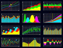 Set of detailed business graphs and charts. Vector illustration Royalty Free Stock Images