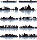 Set of detailed cities silhouette Royalty Free Stock Photo
