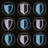 Set of detailed classic coat of arms, decorative defense shields Stock Images