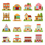 Set of detailed colorful cottage house building flat style modern constructions vector illustration Stock Photos