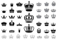 Set of 40 detailed crowns Stock Images