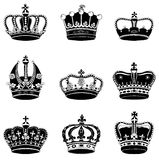 Set of 9 detailed crowns Stock Image