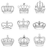 Set of 9 detailed crowns Royalty Free Stock Image