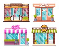Pizza, candy shop, coffee house, restaurant, bushes, logos, windows with shadows of people royalty free stock images