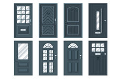 Set of detailed front doors for private house or building. Royalty Free Stock Photos