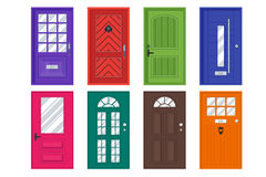 Set of detailed front doors for private house or building. Royalty Free Stock Images