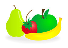 Set of detailed fruits Royalty Free Stock Images