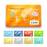 Set of detailed glossy credit cards Royalty Free Stock Image