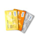 Set of detailed glossy credit cards with two sides Stock Images