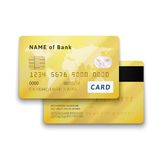 Set of detailed glossy gold credit card with two Stock Image