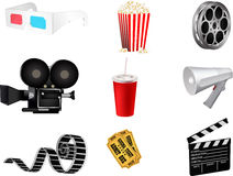 Set of detailed movie icons Royalty Free Stock Photos