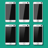 Set of detailed phones with shadows Royalty Free Stock Photo