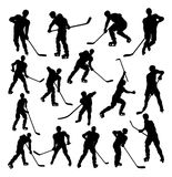 Hockey Player Silhouettes Royalty Free Stock Photos