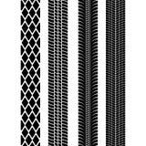 Set of detailed tire prints. Modern tire tread. Tire mark black. Vector illustration.  Royalty Free Stock Image