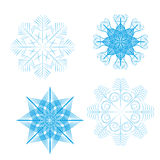 Set of 4 detailed vector snowflakes Stock Photo