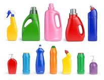 Set of detergent bottles and containers, cleaning and washing su Stock Illustration
