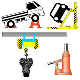 Set device for lifting a car repair. Stock Photos