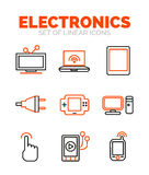Set of devices and electronics icons, flat minimal linear thin style. Vector symbols isolated on white, orange and black colors vector illustration