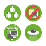 Set Devices Icons 04. Set flat icons green circle background 02 Royalty Free Stock Photos