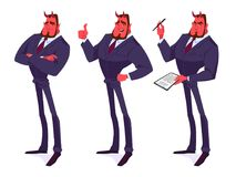 Set of devil businessmen. Vector cartoon illustration Royalty Free Stock Photo
