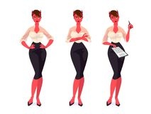 Set of devil businesswomen. Vector cartoon illustration Stock Images