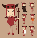 Set of devil characters poses Royalty Free Stock Image