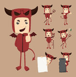 Set of devil characters poses Stock Photo