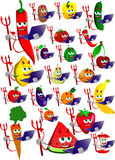 Set of devil fruits and vegetables holding laptop Royalty Free Stock Photos