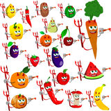 Set of devil painter fruits and vegetables Royalty Free Stock Photography