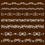 Set di pennelli dell'ornamento di calligrafia Fotografie Stock