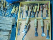 Set di strumenti di scultura di legno immagini stock libere da diritti