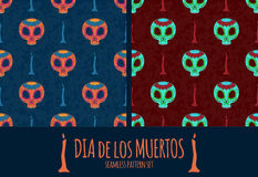 Set of Dia de Muertos cartoon Skull Ornate Day of The Dead seamless pattern Stock Image