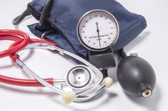 Set of diagnostic kit for determining increased blood pressure for doctors of cardiology, internal medicine, therapeutics, includi. Ng red stethoscope stock images