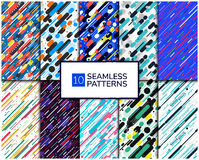 Set Diagonal Pattern. Set of 10 seamless colorful patterns with geometric elements. Dynamic backgrounds in futuristic style. Pattern is suitable for posters Royalty Free Illustration