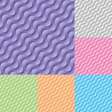 Set of Diagonal wavy stream vector seamless pattern. stock illustration