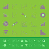 Set of diagram and graph color icons Royalty Free Stock Image